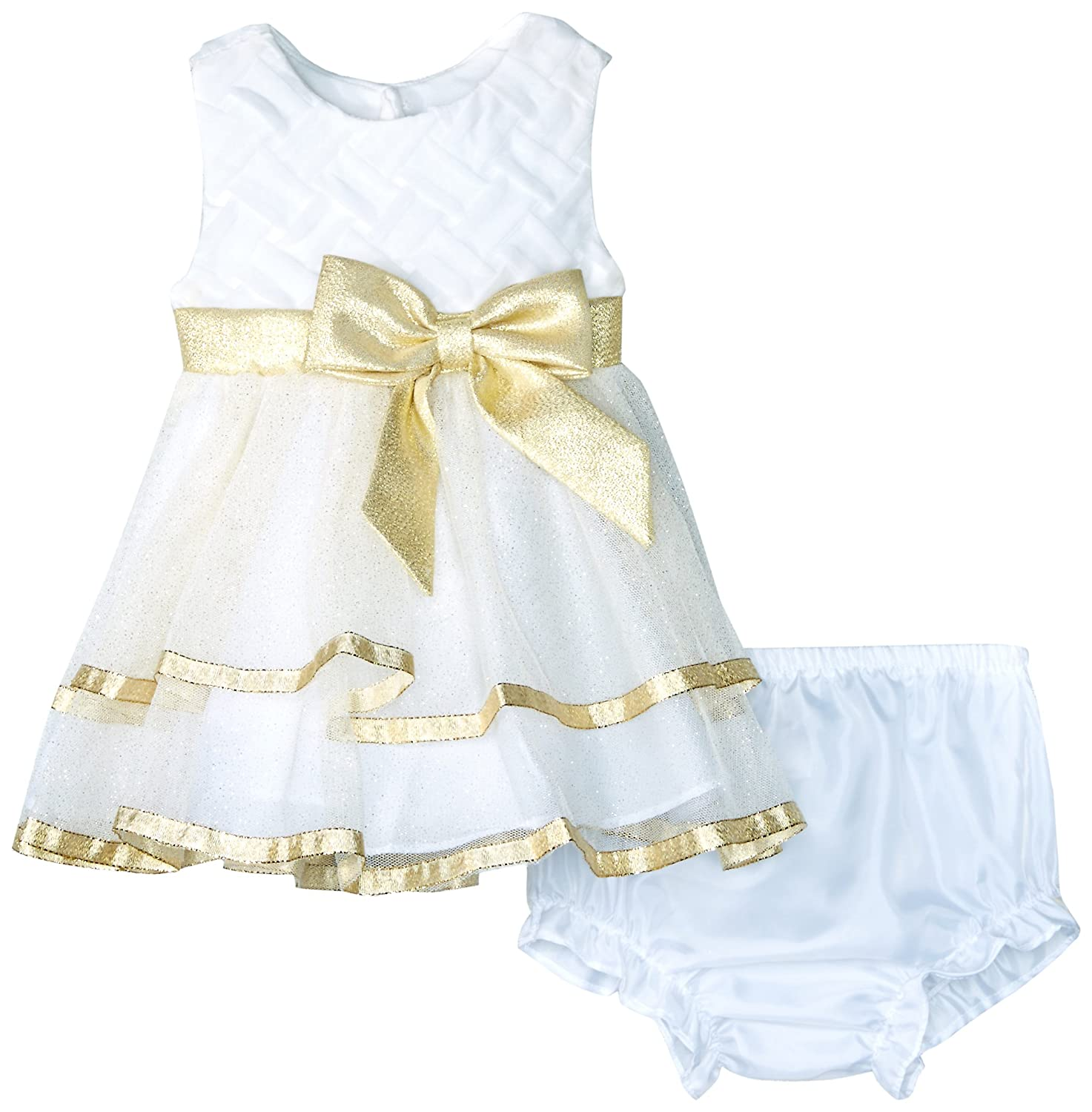 83dc1e9729da Amazon.com: Rare Editions Baby Girls' Glitter Mesh Special Occasion Dress,  Ivory/Gold 9 Months: Clothing