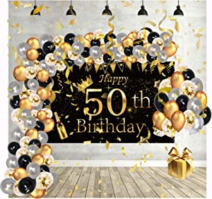 50th Women Men Birthday Decorations - Black and Gold Backdrop Decor with Balloons Set, 1970 Happy Female Party Banner for Unisex, Gift for Anniversary (Canary)