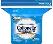 Cottonelle Flushable Wet Wipes, 168 Wipes per Pack, 1 pack, For Adults and Kids, Alcohol Free, Sewer Safe, Septic Safe