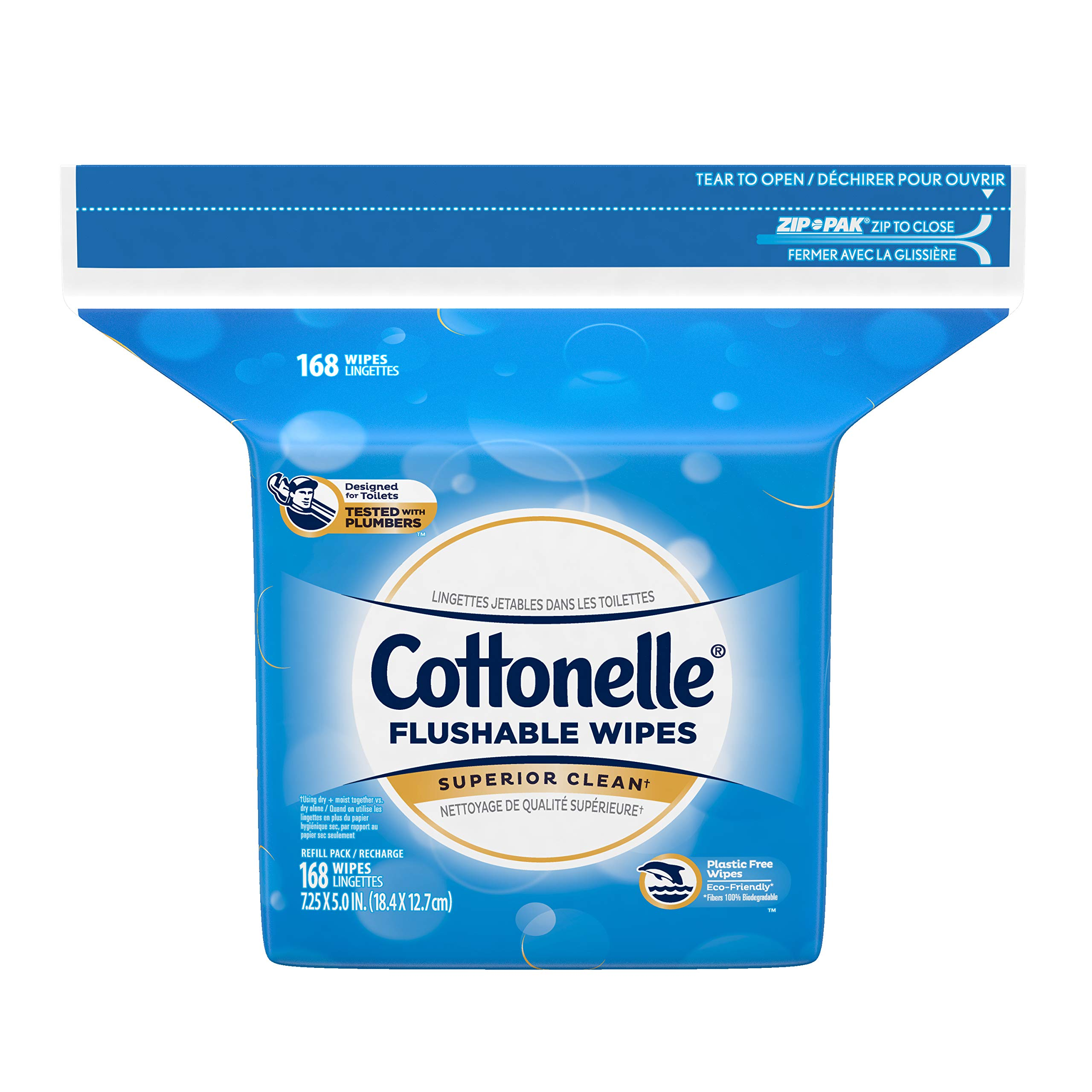 Cottonelle Flushable Wet Wipes, 168 Wipes per Pack, Pack of 8