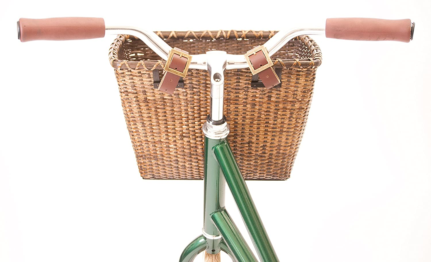 Retrospec Bicycle Cane Woven Rectangular Toto Basket with Authentic Leather Straps /& Brass Buckles, Black Xander Bicycle Corporation 1914