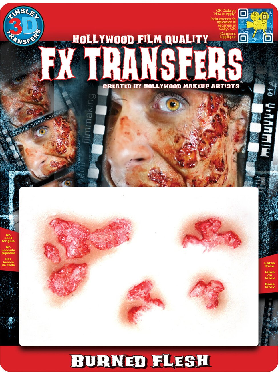Tinsley Transfers Burned Flesh Makeup FX Transfers (4 Piece) Getting Fit 813722020245