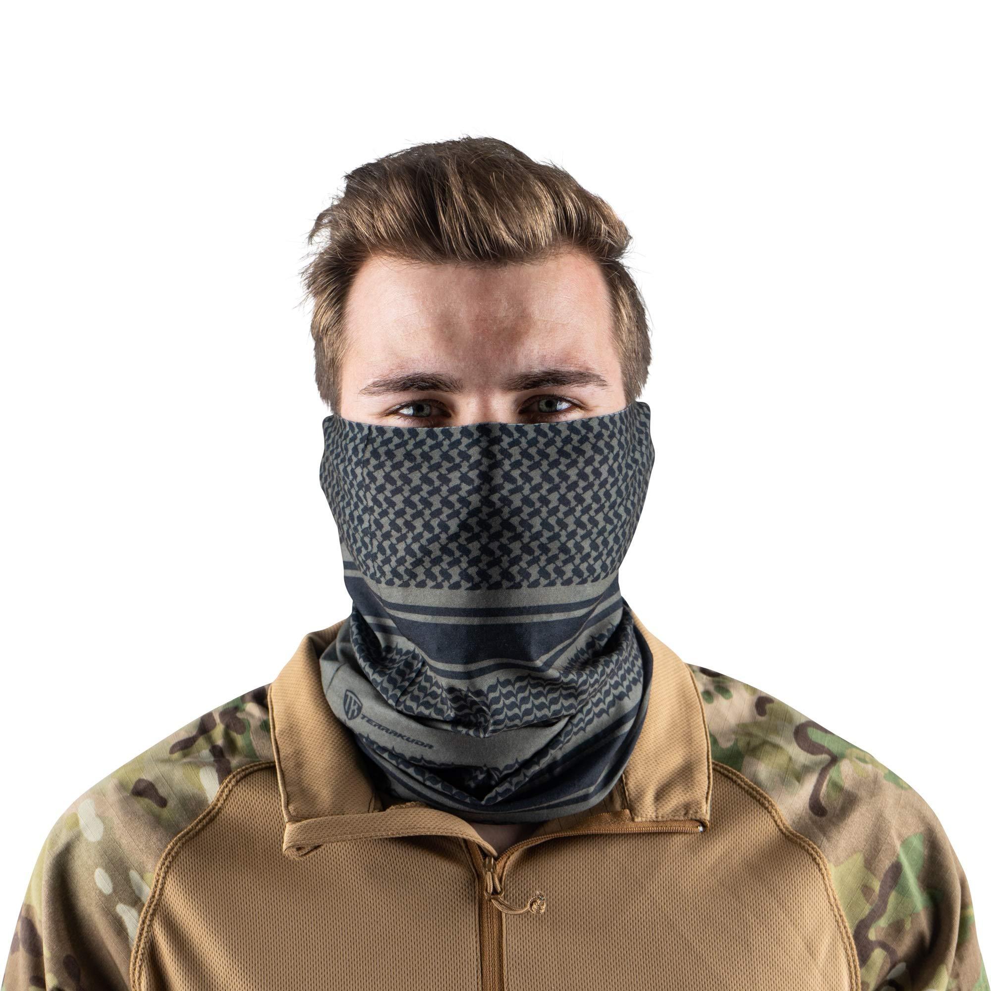 Terra Kuda Face Clothing Neck Gaiter Mask - Non Slip Light Breathable for Sun Wind Dust Bandana Balaclava (Green Shemagh) by Terra Kuda