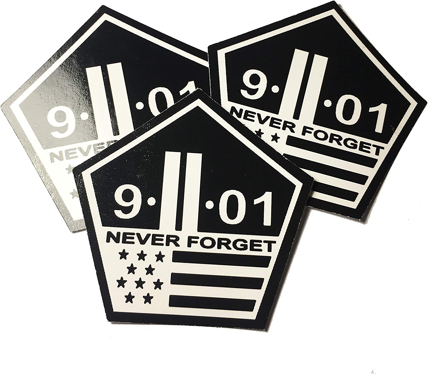 """Never Forget (3 pack) 2.5""""x2.5"""" 3M New York City - 9/11 Never Forget - USA MADE Twin Towers Decal - 911 stickers."""