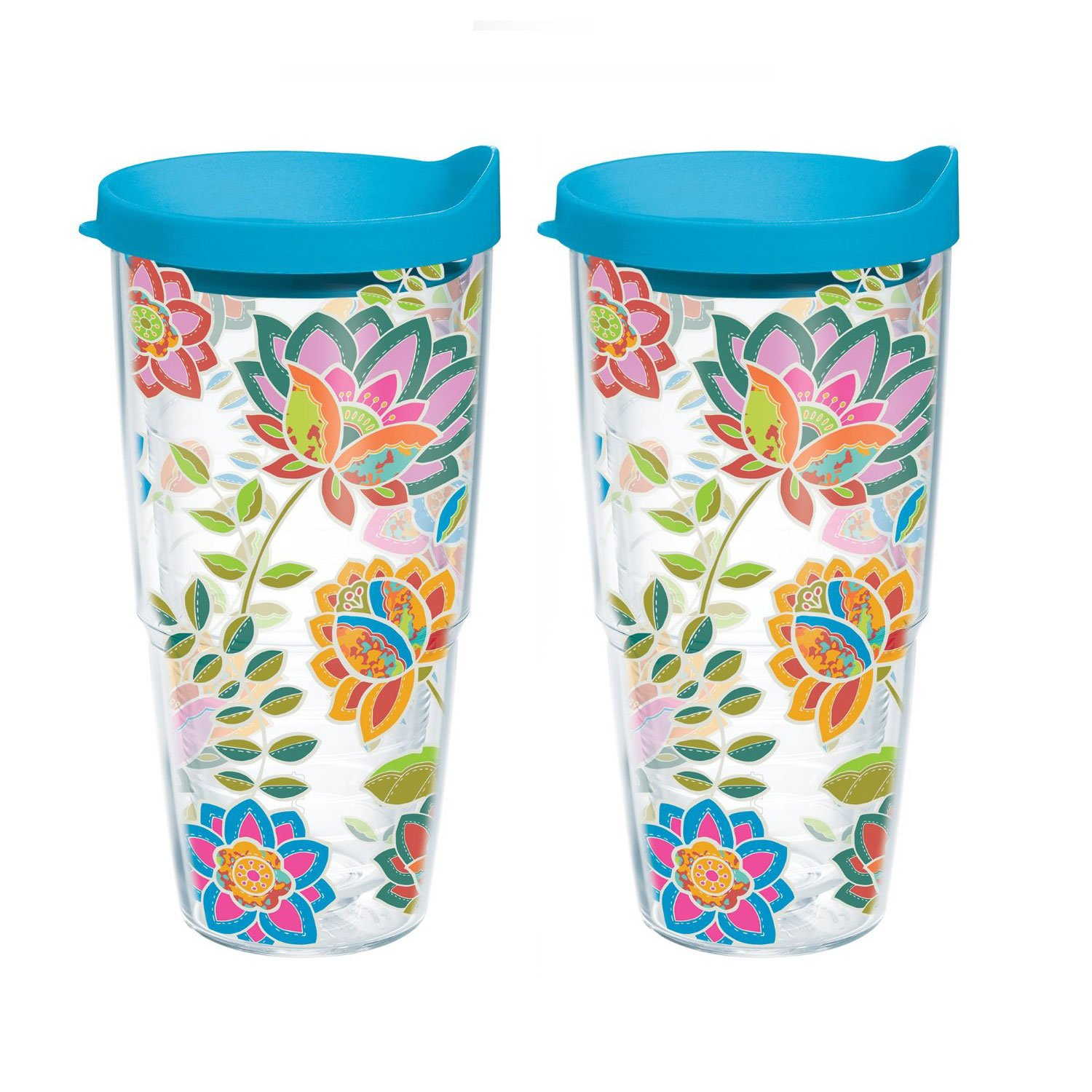Tervis 24oz, Bohemian Floral, Set of Two Tumblers, Each Tumbler is 4 Inches in Diameter by 8.25 Inches Tall