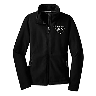 The Crafty Engineer RN Zip Up Fleece Jacket with Pockets Nurse Gift at Women's Coats Shop