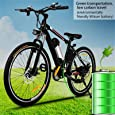 Kemanner 26 inch Electric Mountain Bike 21 Speed 36V 8A Lithium Battery Electric Bicycle for Adult (Black)