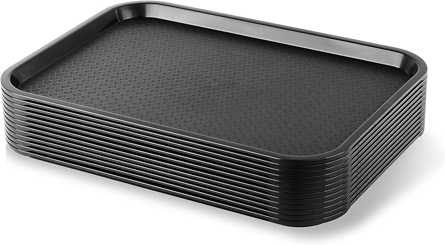 New Star Foodservice 24517 Black Plastic Fast Food Tray, 12 by 16-Inch, Set of 12
