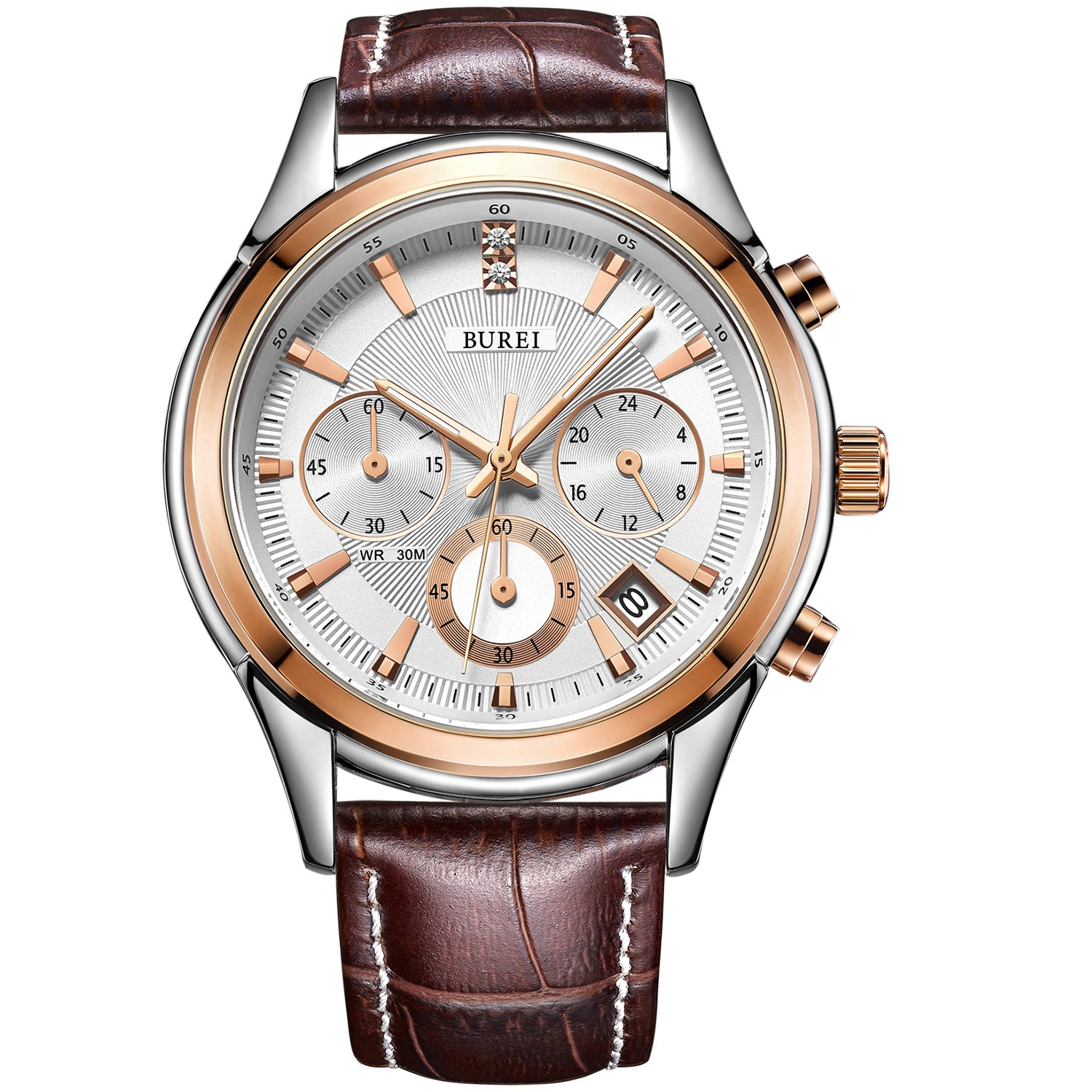 BUREI Men's Watch Rose Gold Chronograph Quartz Mineral Lens with Date and Brown Genuine Leather Strap by BUREI