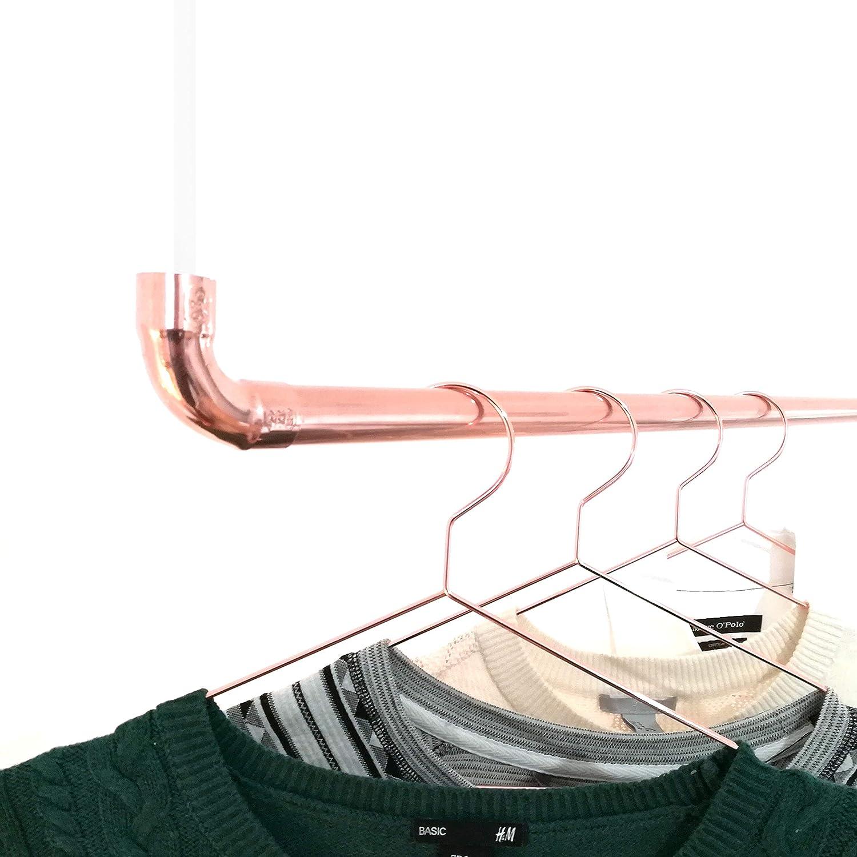 120 cm Premium Design Kleiderstange Garderobenstange aus Kupfer und Baumwollseil