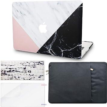 KECC - Estuche para MacBook con cubierta de plástico duro para teclado EU + protector de pantalla + funda protectora multicolor Mármol Blanco Rosa Negro A1398 Old Mac Pro 15
