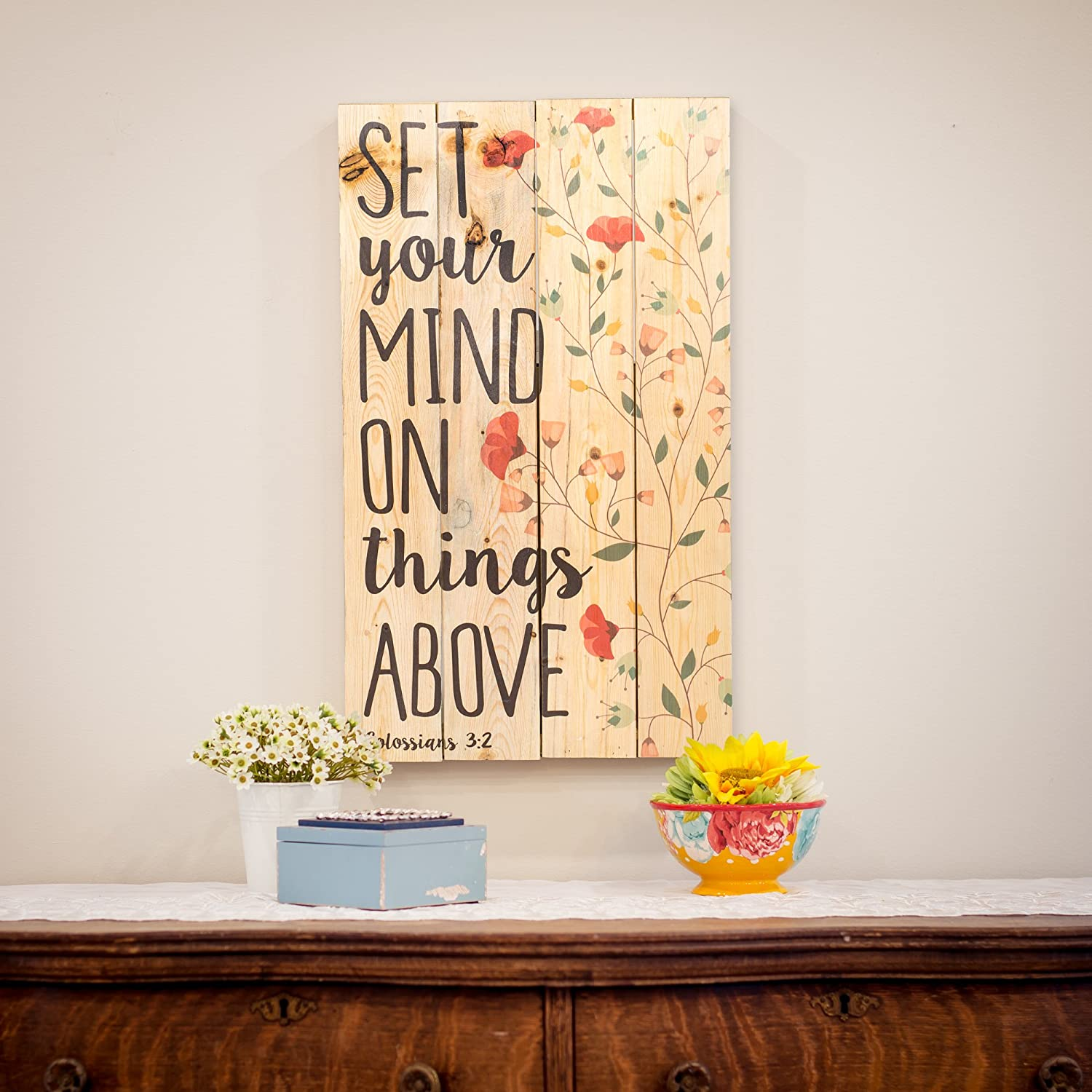 Amazon.com: Set Your Mind on Things Above Floral Design 24 x 14 Wood ...