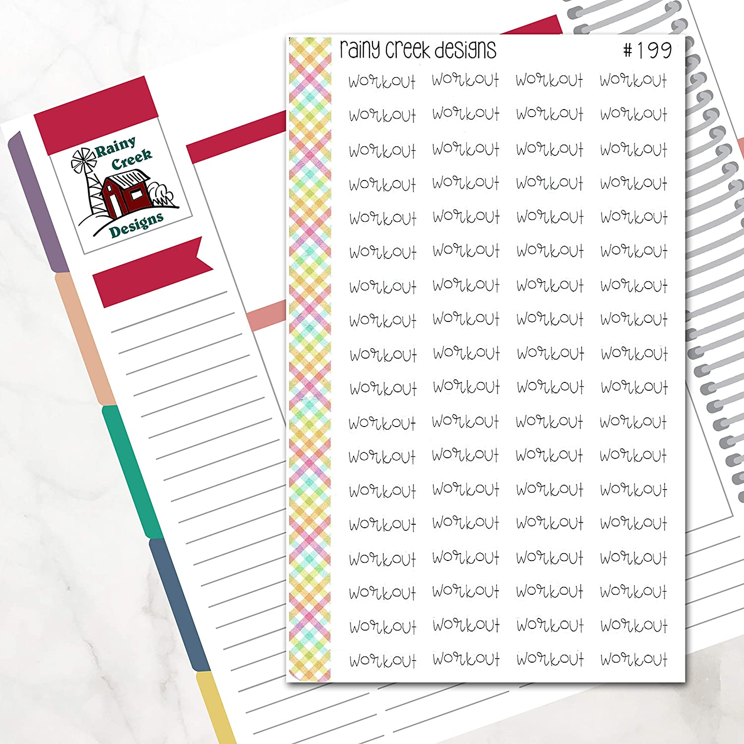 Happy Planners//Functional Stickers//Exercise Stickers//Health Stickers #199 Plum Paper Workout Word Art for Erin Condren