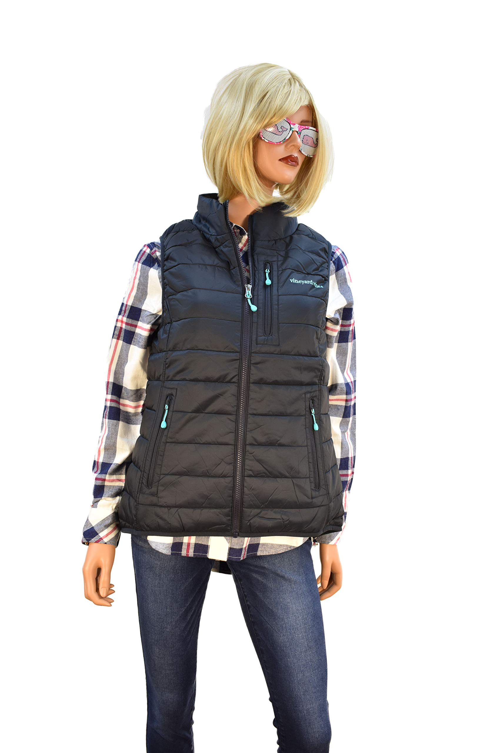 Vineyard Vines Women's Puffer Vest Rhododendron Pink (X-Small, Jet Black)