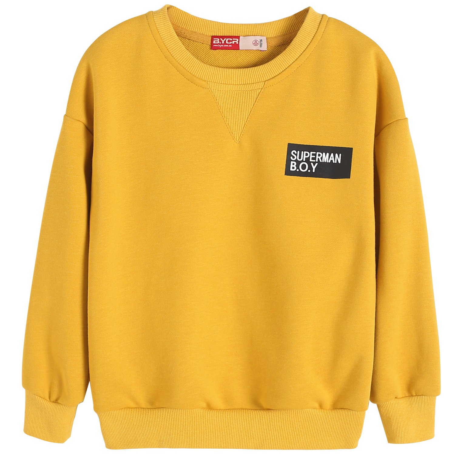 BYCR Boys' Youth Solid Long Sleeve Loose Cotton Pullover Crew Neck Hoodie Kids