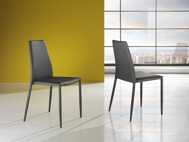 Sedie Bianche Design : Wink design lincoln set sedie pelle ecologica grigio amazon