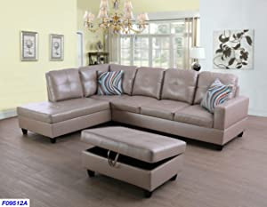 Beverly Fine Funiture Sectional Sofa Set Latte