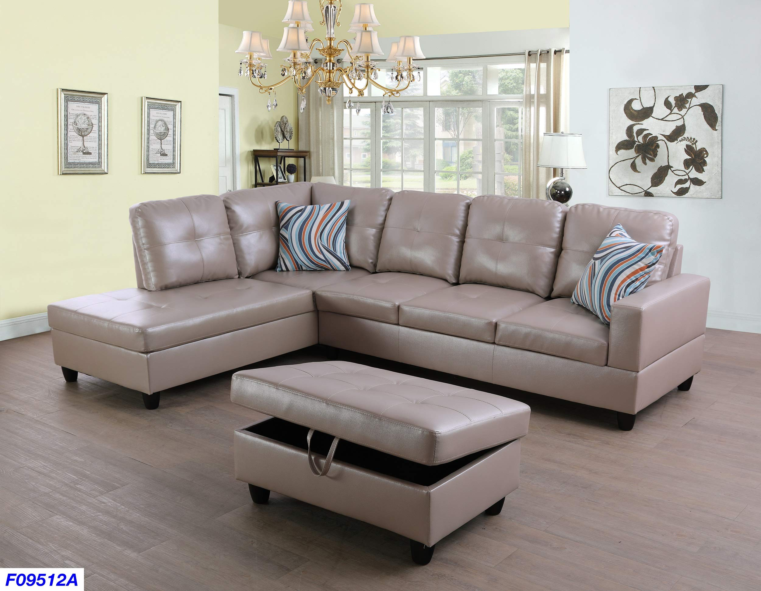 Beverly Fine Funiture Sectional Sofa Set, Latte by Beverly Fine Funiture