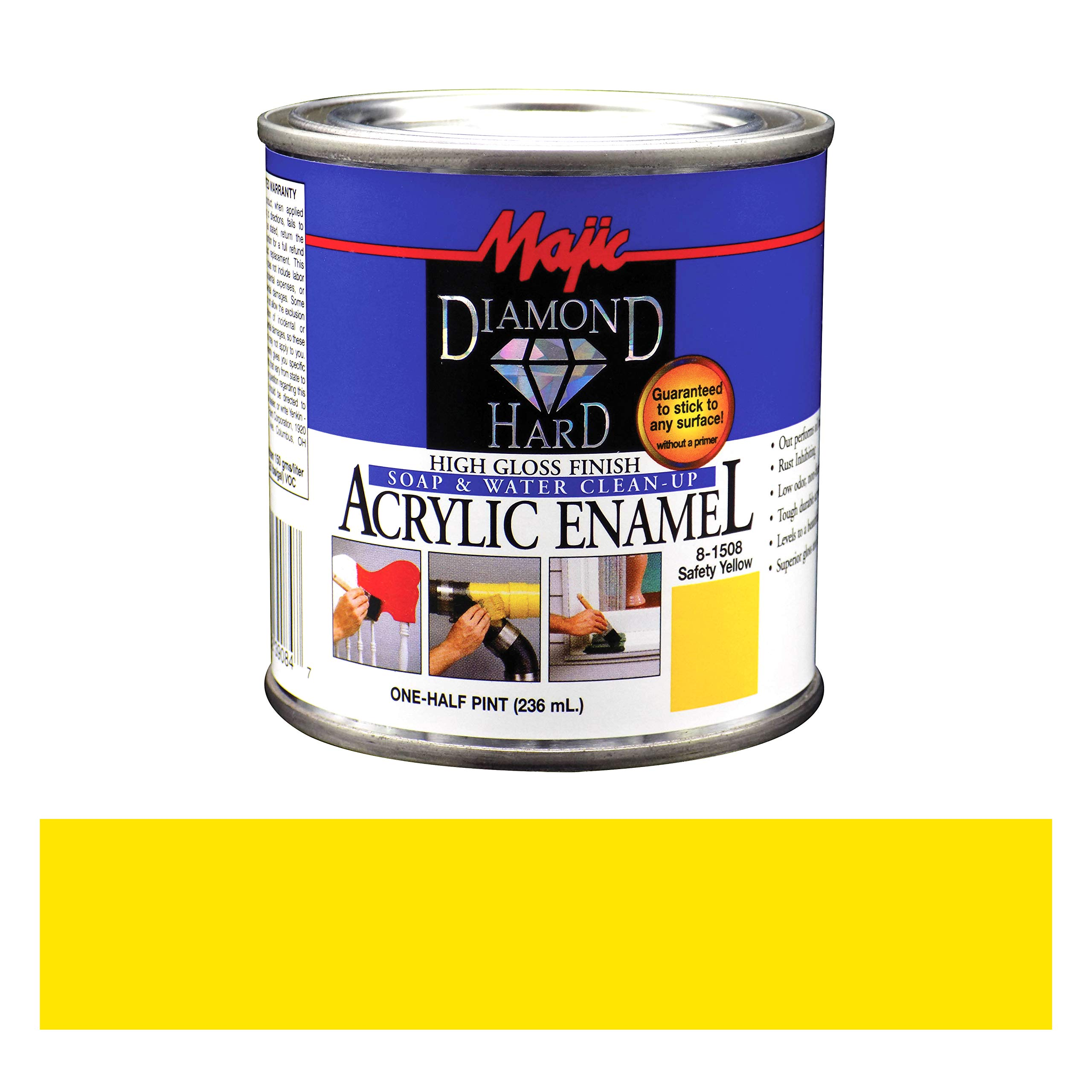 Majic Paints 8-1508-4 Diamond Hard Acrylic Enamel High Gloss Paint, Half Pint/8-Ounce, Safety Yellow