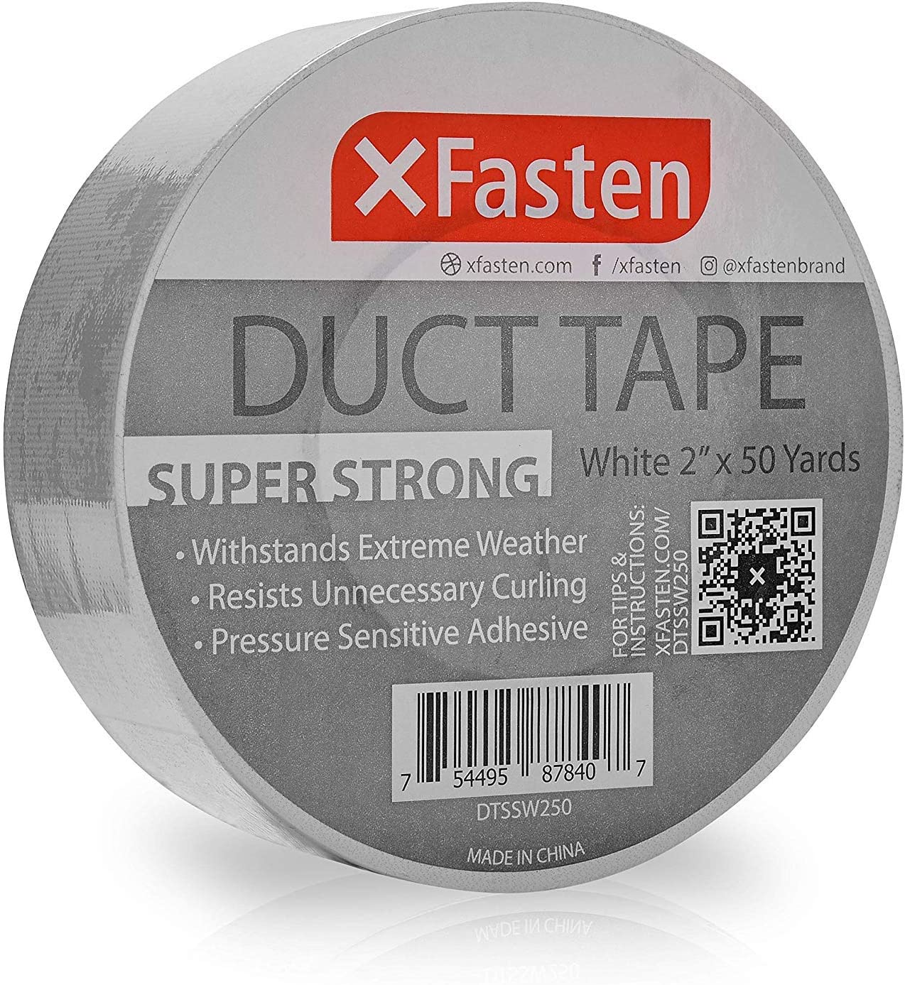 """XFasten Super Strong Duct Tape, White, 2"""" x 50 Yards Waterproof Duct Tape for Outdoor, Indoor, School and Industrial Use"""