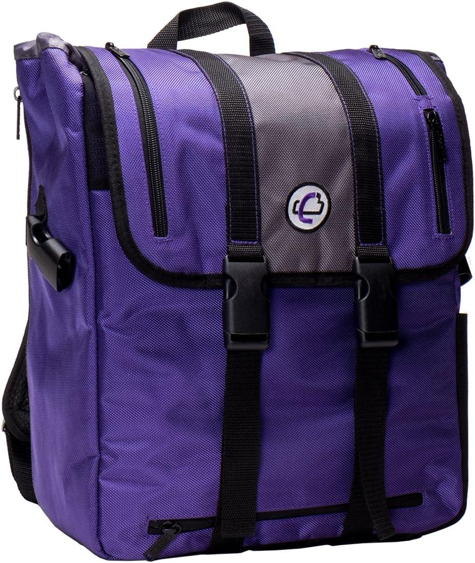 Case-It BKP-102 Laptop Backpack with Hide-Away Binder Holder, Fits 13-Inch Laptops, Purple/Grey (BKP-102 PURG)