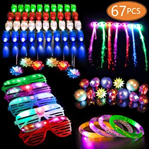 MIBOTE 67 PCs LED Light Up Toys Party Favors Glow in the Dark Party Supplies for Kid/Adults with 40 Finger Lights, 10 Jelly Rings, 5 Flashing Glasses, 4 Bracelets, 4 Fiber Optic Hair Lights and 4 Crystal Necklaces