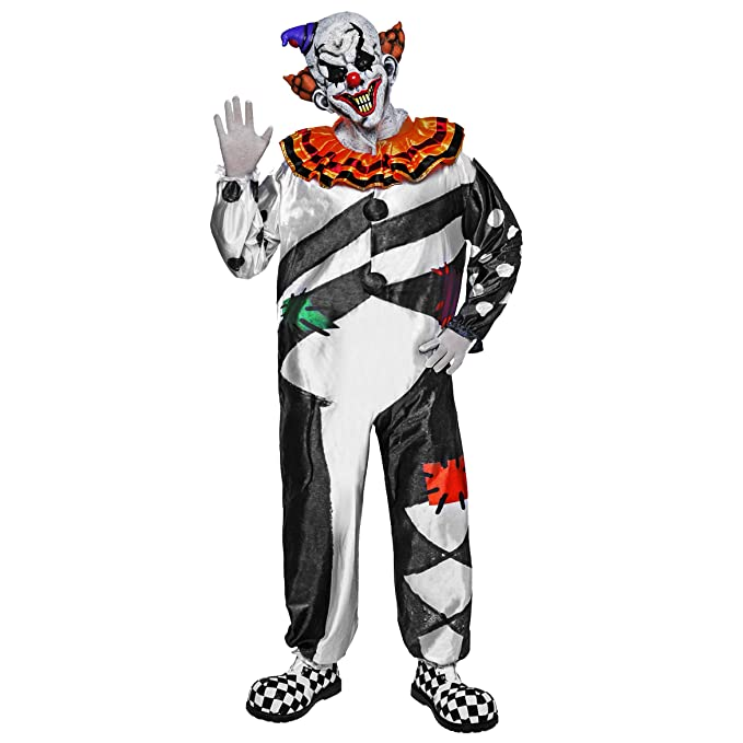 Scary Clown Deluxe Men Costume Set for Halloween Dress Up Party, Role Play  and Carnival Cosplay