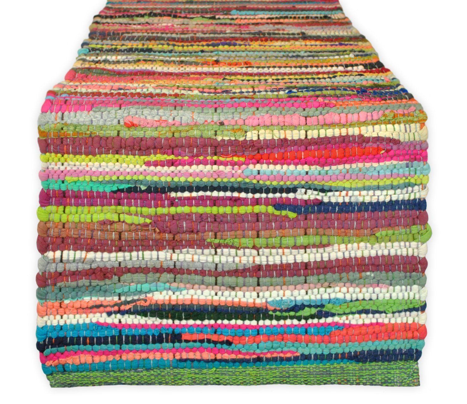Cotton Craft - Hand Woven Reversible Cotton Multi Chindi Braid Table Runner - 14x72 Inches - This Runner is made from multi color re-cycled yarns, actual product may vary in color from the image shown