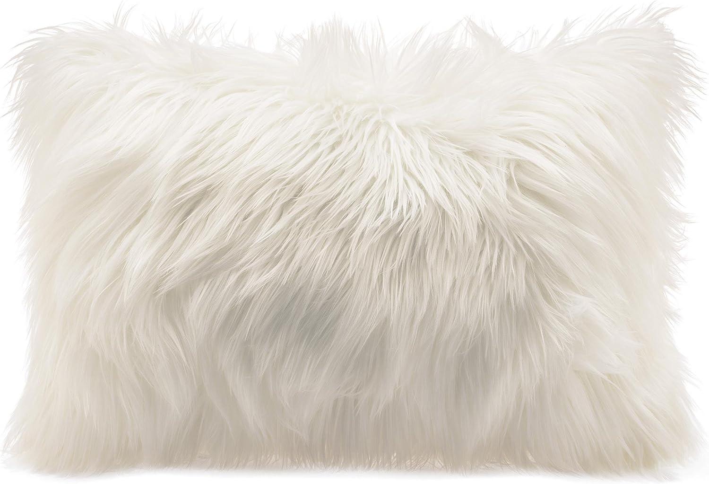 2 Pcs Housse de Coussin en Fausse Douce et Longue Poils Longs Peau de Mouton Fourrure Cuir Taie doreiller pour Salon canap/é Chambre /à Coucher Blanc
