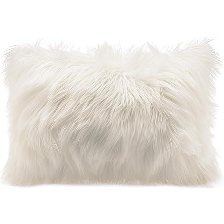 Cojín de pelo largo de CelinaTex, de pelo de oveja de imitación, tela, Weiß, Kissen 40 x 60 cm
