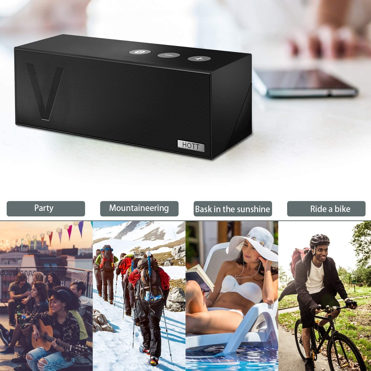 HOTT Portable Wireless Stereo Bluetooth Speaker Handsfree Function 20hours Playback Time