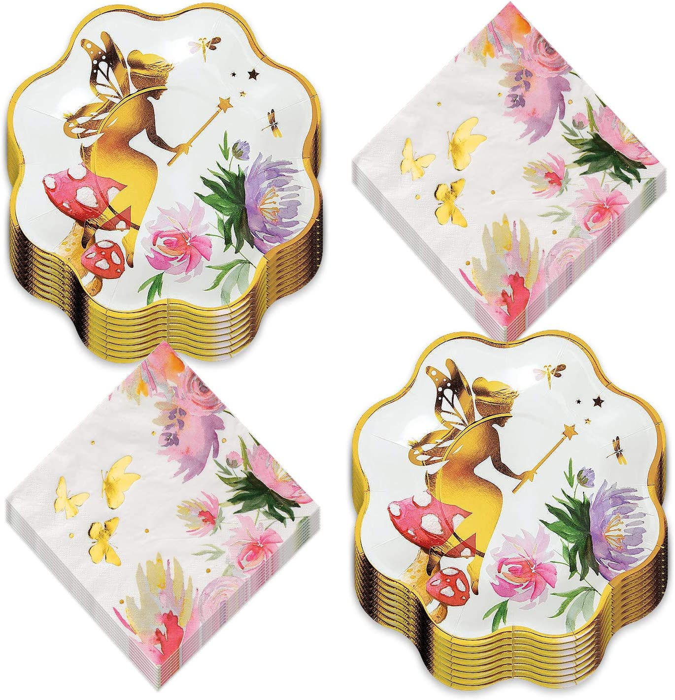 Enchanted Fairy Party Supplies- Floral and Gold Fairy Scalloped Paper Dessert Plates and Luncheon Napkins (Serves 16)