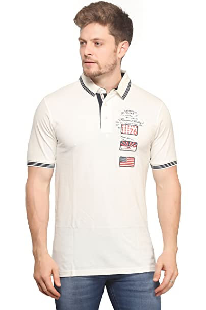 0b42a24f8772f Mr.Stag Plain Men's Collar Neck White Half Sleeves T-Shirt: Amazon ...