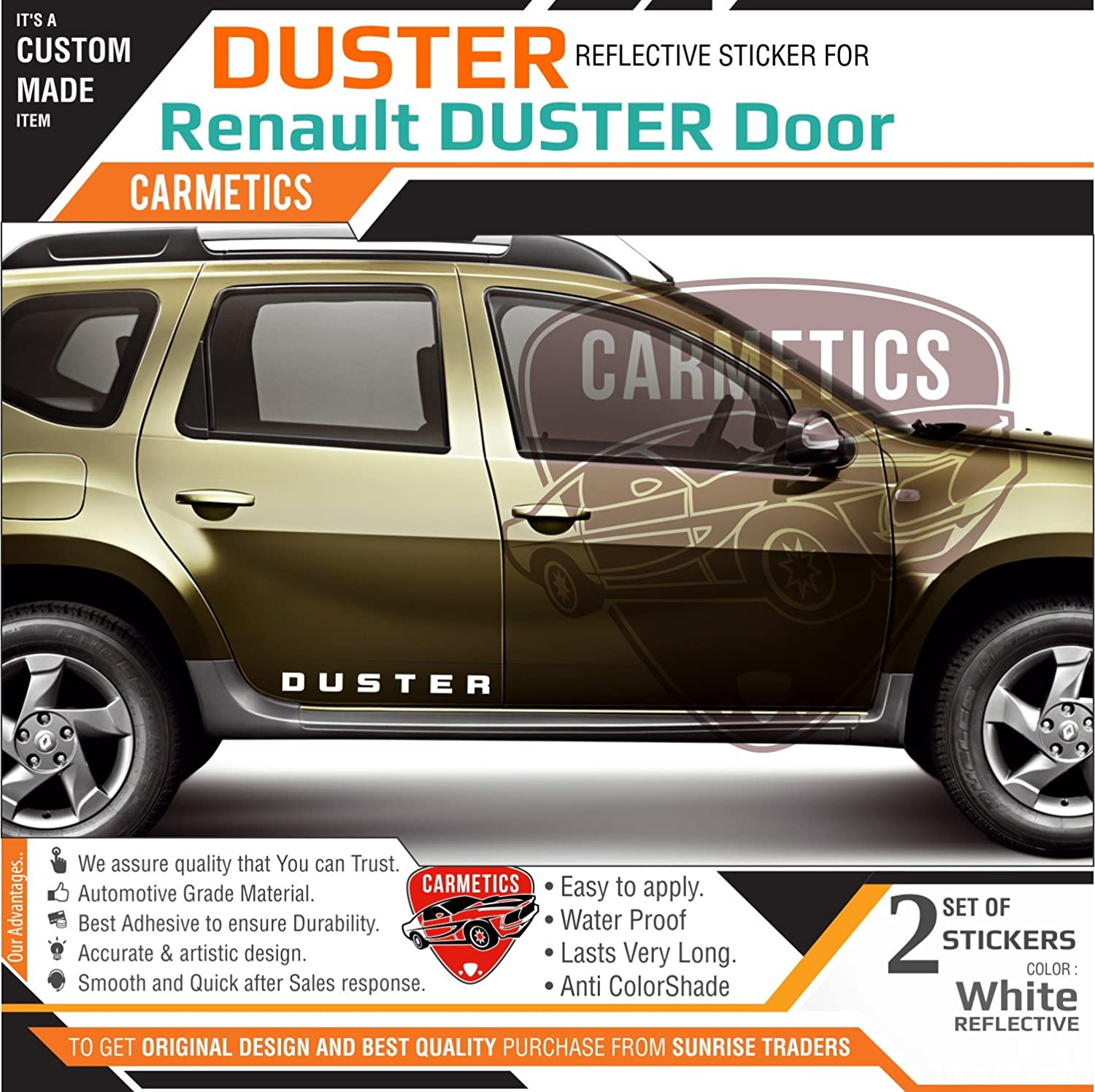 Carmetics duster door side stickers for renault duster white 2pcs gang of dusters amazon in car motorbike