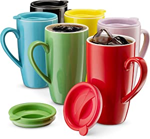 MITBAK 6-Pack Ceramic Coffee Mug Set with Lids (16-Ounce) | Large Colored Tumbler Mugs Great for Taking Your Coffee & Tea To-Go | Large Insulated Mug Set Excellent Choice for Camping, Travel & Office
