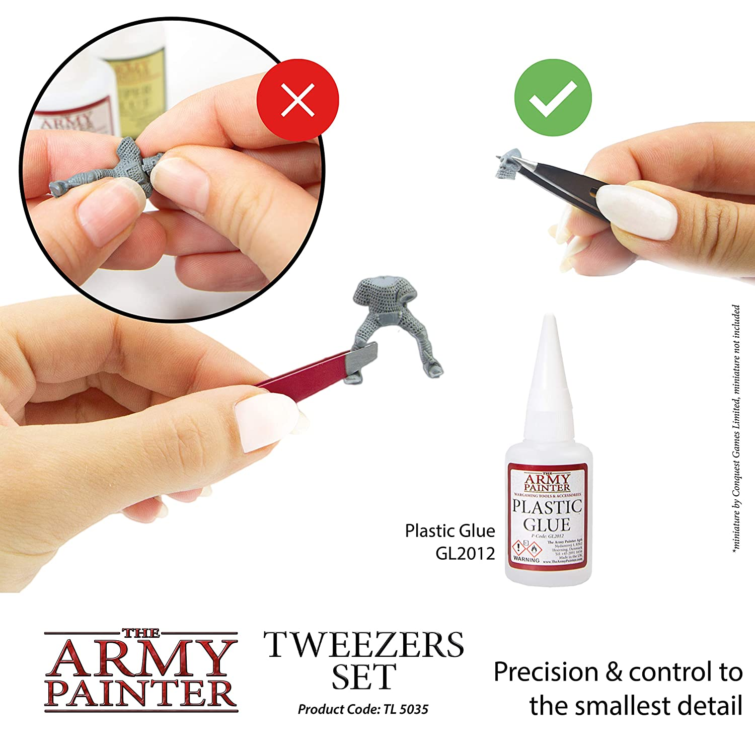 Pointy Tip Black The Army Painter 2-Piece Precision Tweezers Set of Slant Tweezers and Pointed Tweezers Tweezer Set for Assembling Miniatures: 95 mm Flat Tip Red and 103 mm
