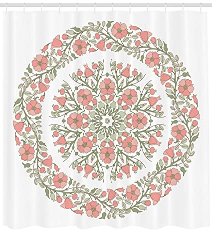 Lunarable Dusty Rose Shower Curtain Mandala Inspired Floral Round With Curvy Branches And Blossoms