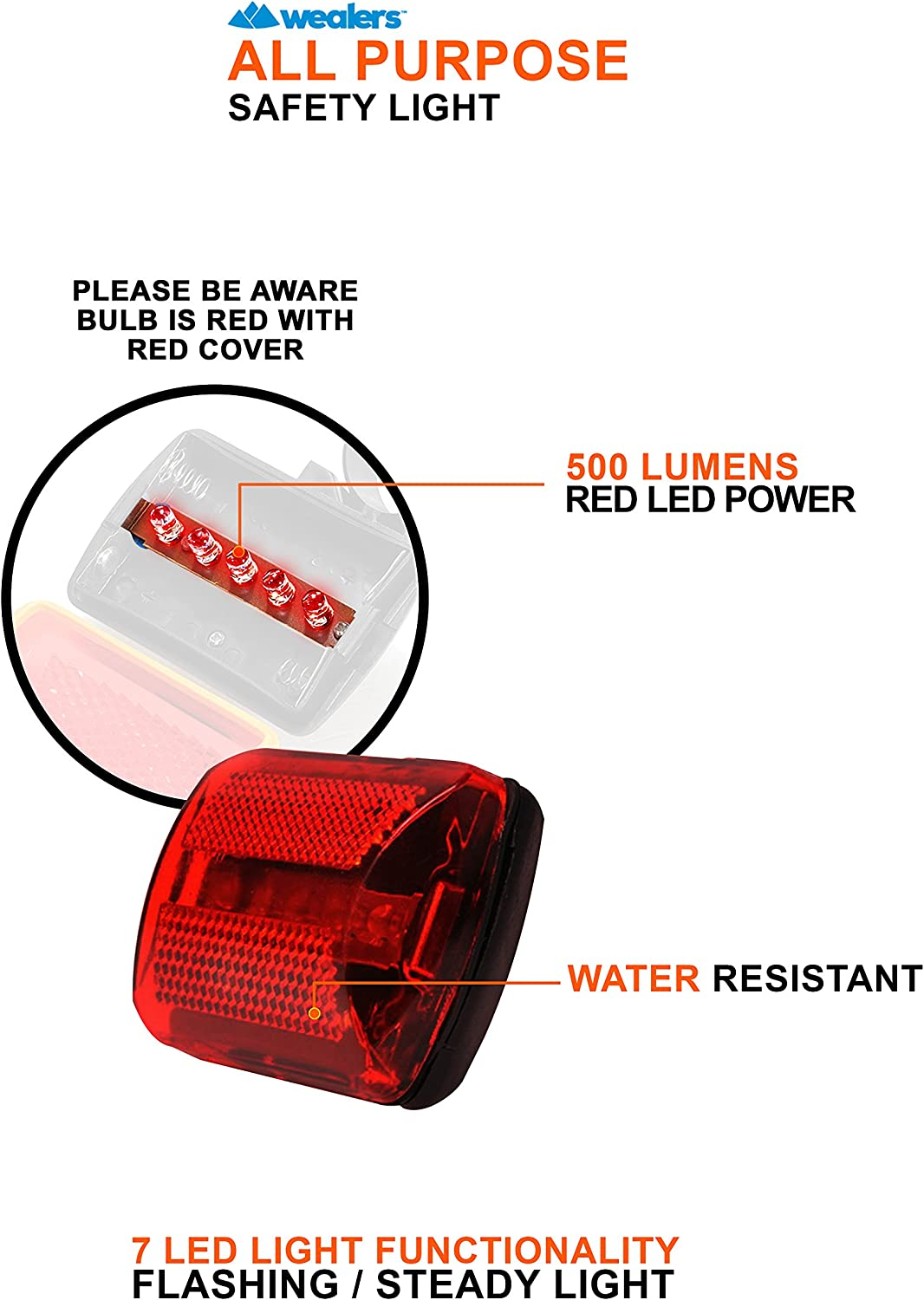 Water Resistant - Up to 100 Hours Wealers Personal Flashing Safety Light with Belt Clip Set of 2