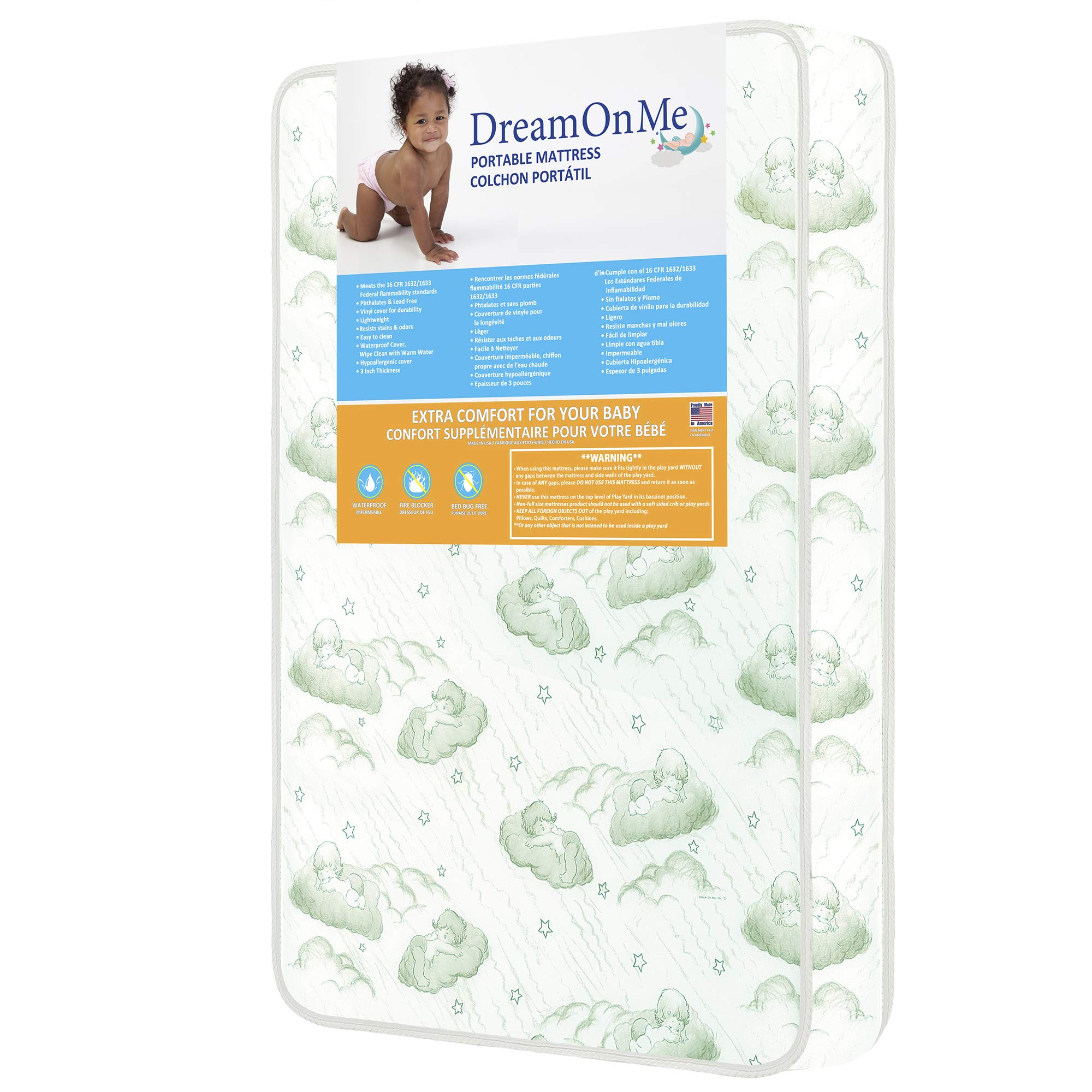 Dream On Me 3'' Playard Mattress, White by Dream On Me