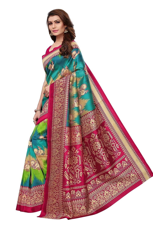 CRAFTSTRIBE Multicolor Bollywood Art Silk Saree Party Wear Indian Ethnic Wedding Sari