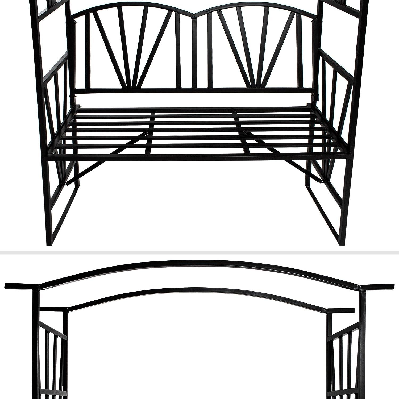 TecTake Arco de metal para rosas Arco de jardín Plantas con banco ...