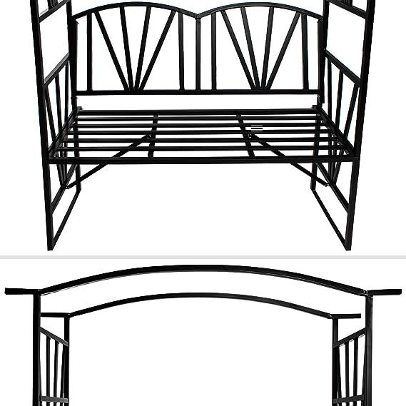 TecTake Arco de metal para rosas Arco de jardín Plantas con banco pérgola banco jardin: Amazon.es: Hogar