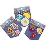 Embroidered Peel and Stick Patches for Clothing, Jeans, Jackets, Shirts, Backpacks and More (9 pc Foods Pizza, Pop Corn, Taco...)
