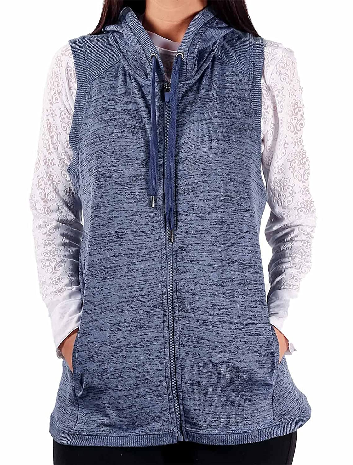 90 Degree Knit Crossover Wrap Hooded Vest VFW81480