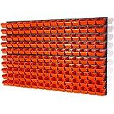 Lot de 156 elements d'étag?re murale 150 x bacs a bec orange