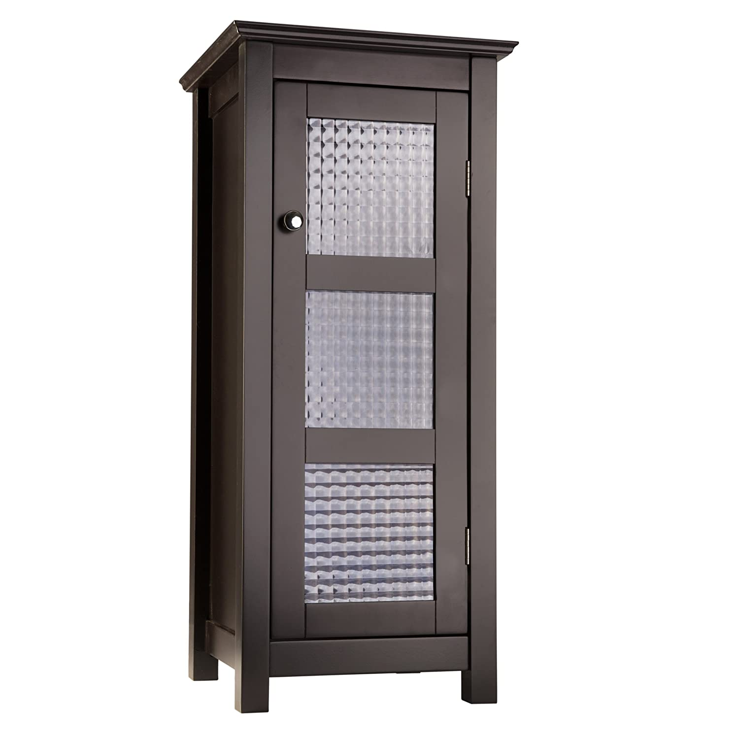 Amazon.com: Elegant Home Fashions Chesterfield Collection Shelved Floor  Cabinet With Glass Paneled Door, Espresso: Kitchen U0026 Dining