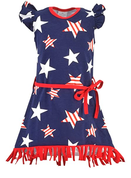 db5ccf306 Unique Baby Girls 4th of July Patriotic Fringe Dress (1 Year/XXS) Red