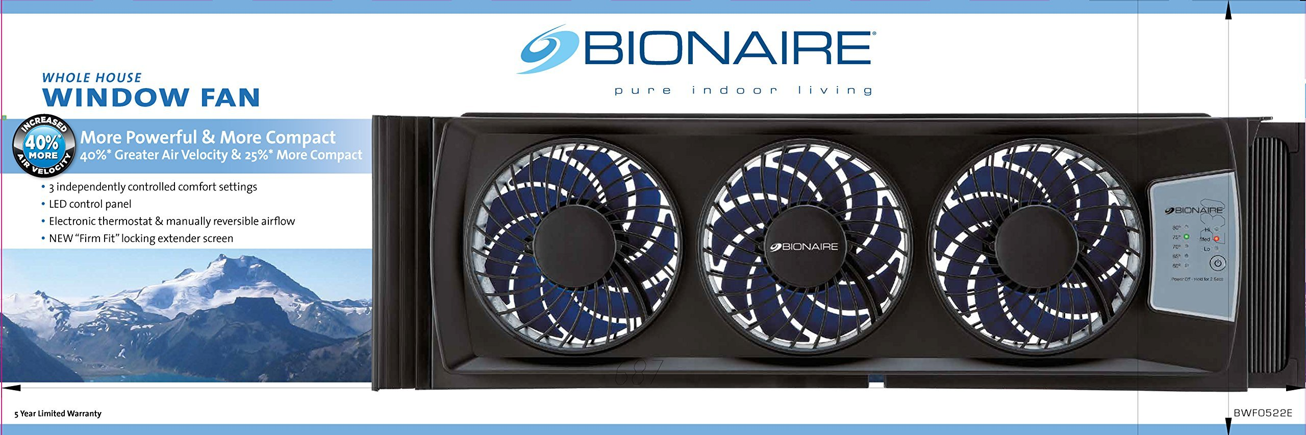 Bionaire BWF0522E-BU Thin Window Fan with Comfort Control Thermostat (Renewed) by Bionaire