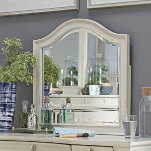 Liberty Furniture Industries Rustic Traditions II Vanity Desk Mirror, W27 x D1 x H27, White