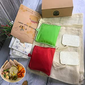Beeswax Wrap-Set of 5 Pack - Organic Cotton Reusable Bees Wax for Food Storage with 2 Loofah Kitchen Sponge, 3 Mesh Bags And 2 Cotton Grocery Bags